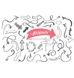 hand-drawn doodle arrows sketch set dirty vector image vector image