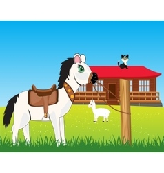 House on nature and animals vector