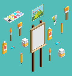 isometric art icons flat design vector image