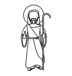 Jesus christ blessed with stick outline vector