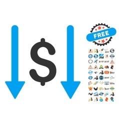 Receive money icon with 2017 year bonus symbols vector