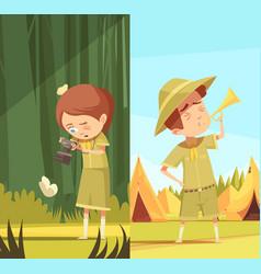 Scouts activities cartoon banners set vector