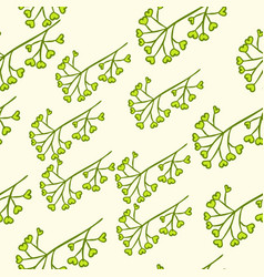 seamless green berry branch vector image vector image