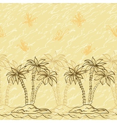 Seamless pattern palm trees and butterflies vector image vector image