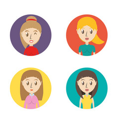 Set avatars women of different diversity inside vector