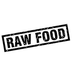 Square grunge black raw food stamp vector