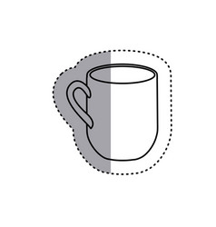 Sticker silhouette big mug with handle icon vector