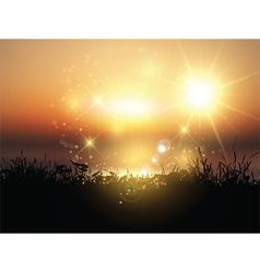sunset grassy landscape 2003 vector image vector image