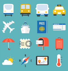 transportation for travel icon set vector image