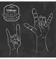 Vintage chalkboard rock and roll hand sign vector