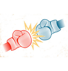 vintage emblem for boxing with two gloves vector image