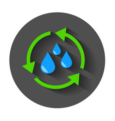 Water cycle icon flat with long shadow vector