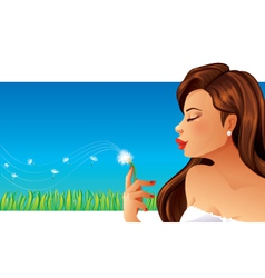 Woman and dandelion vector