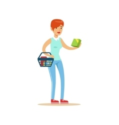 Woman With Basket Shopping In Department Store vector image vector image