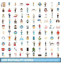 100 mutuality icons set cartoon style vector