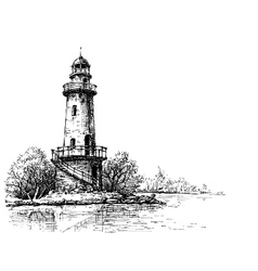 Lighthouse pencil drawing etch style vector