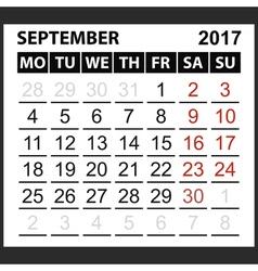 calendar sheet September 2017 vector image