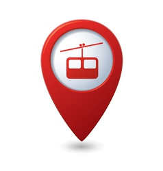 Map pointer with cableway icon vector