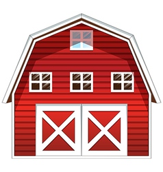 A red barn house vector