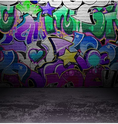 Graffiti wall urban street art painting vector image