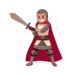 Medieval knight apprentice sword bearer squire vector
