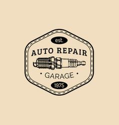 Car repair logo with spark plug vector