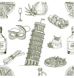 hand drawn italy pattern vector image