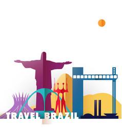 Travel brazil paper cut world monuments vector