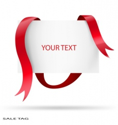 Blank sale tag red ribbons vector