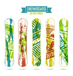 Retro print for snowboard vector
