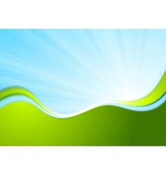 Blue and green wavy abstract background vector