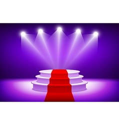 3d Empty illuminated white stage podium with red vector image