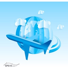 plane globe origami 3d paper vector image