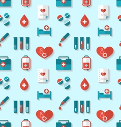 Seamless pattern with flat medical icons vector
