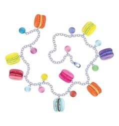 Bracelet macaroon on white background vector