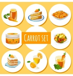 Carrot set eight icons of dishes and drinks vector
