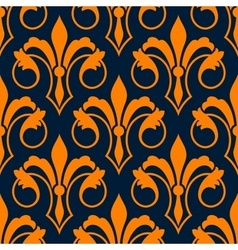 Fleur-de-lis seamless pattern with orange lilies vector