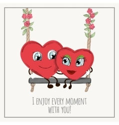 Congratulations card with hearts for valentines vector