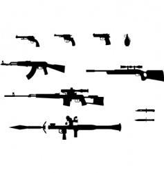 gun silhouettes set vector image