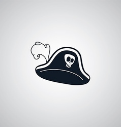 Pirate captain hat flat icon theme vector