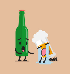 Beer bottle soothes sad glass of beer character vector