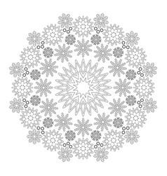 black and white circular winter mandala snowflakes vector image vector image