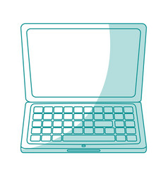 Blue silhouette shading laptop computer tech vector