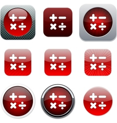 Calculate red app icons vector image vector image