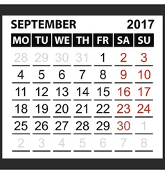 Calendar sheet september 2017 vector