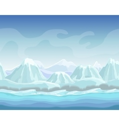 Cartoon winter landscape with snow mountains vector image vector image