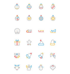 Christmas colored outline icons 2 vector