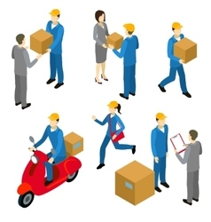 Delivery Isometric Characters Set vector image vector image