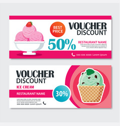 Discount voucher set of ice cream template design vector