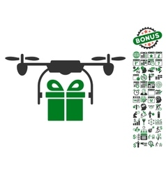 Drone Gift Delivery Icon With Bonus vector image vector image